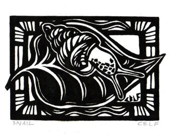 Snail original block print