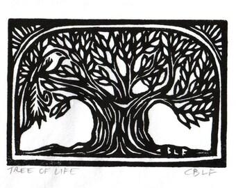 Tree of Life original block print