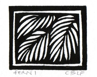 Fern original block print