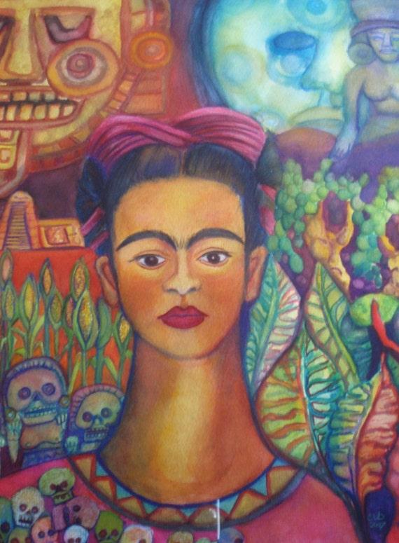 Frida Kahlo Mexico Colorful  Mixed Media Original by Candace Byington 17x21 Framed