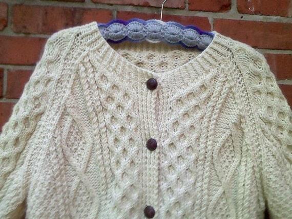 Wool Irish Fisherman's Cardigan Sweater, XL, 1x, 2x