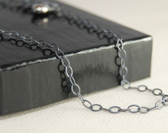 40 Inch OVAL Link Oxidized Sterling Silver Chain