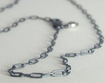 RECTANGLE Link Oxidized Sterling Silver Chain