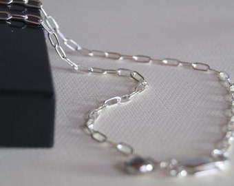 16 inch RECTANGLE Link Sterling Silver Chain
