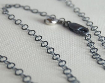 16 Inch ROUND Link Oxidized Sterling Silver Chain