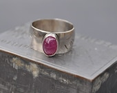 Ruby on Hand Stamped Sterling Band