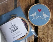 diy cross-stitch pattern/kit - love birds - to be framed in the 4 inch hoop (LAST ONE in this colorway)
