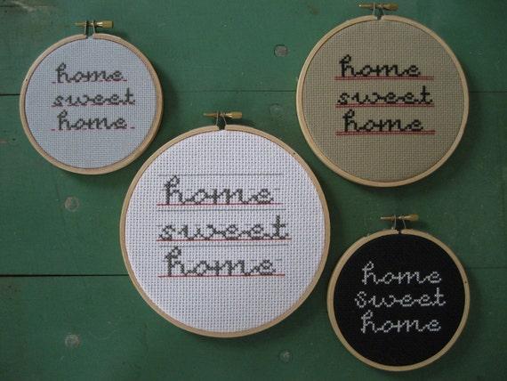 original x-stitch pattern- schoolhouse script home sweet home