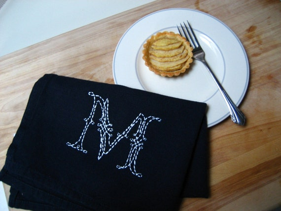 custom embroidered personalized hand\/tea\/dish towel - solid towel w any color stitching