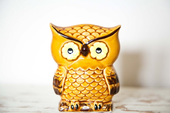 Adorable Vintage Owl Napkin Holder antique ceramic japan hand-painted