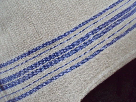Vintage French Linen Mangle Cloth Hemp Material Fabric
