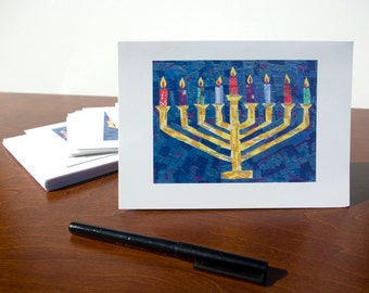HANUKKAH CARDS - Set of 10 Menorah Greeting Cards, Judaica, Happy Hanukkah Cards, Jewish Holiday Cards, Chanukah Cards by Claudine Intner