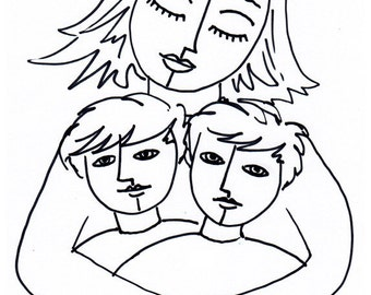 Mother of Two Boys Print - Mother Son Art, mom Art, Mom Gift, Family Portrait Drawing, Line Drawing Print, art giclee, wall art decor