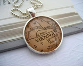 World Map Necklace Vienna Austria
