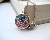 RESERVED Locket Necklace American Flag