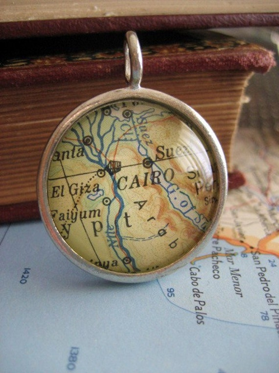 Vintage Map Necklace Cairo