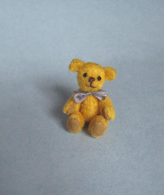 Tiny Miniature Artist Bear Miniature Teddy Bear