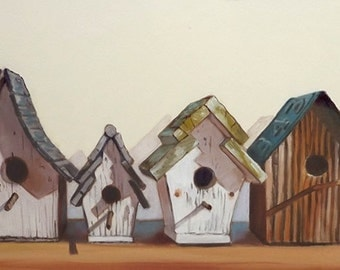 Birdhouses, Oil Painting