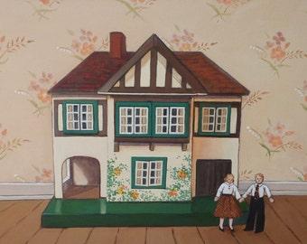 Vintage Tudor Doll House by Ann Miller, Original Still Life