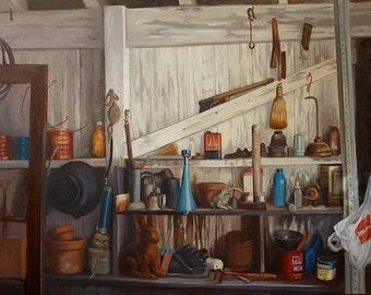 Garden/ Garage Tool Shed, Original Oil Painting, Large