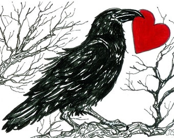CROW of Hearts   aceo print  Crow Raven valentine heart love