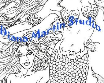 Swimming Together  mermaids Digital Stamp