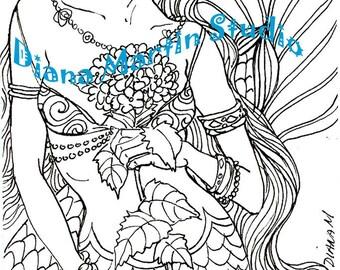 BLUE DELIGHT  mermaid digital stamp flowers