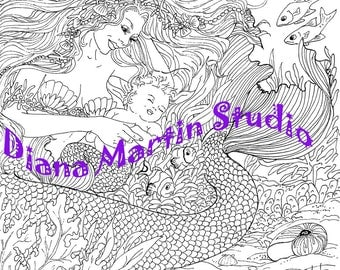 Sleeping in the Anemone  mermaid digital stamp baby fish