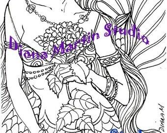 Blue Delight   digital stamp mermaid fantasy coloring book