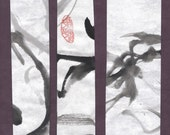 Dancing Tree Branches Original Chinese Brush Painting Bookmark Set
