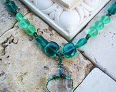 Emerald Green Recycled Art Glass Necklace