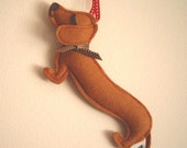 Barbeque the Dachshund Weiner Dog Wool Felt Applique Decorative Holiday Ornament