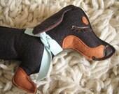 Teriyaki the Dachshund Weiner Dog Wool Felt Applique Plush Doll Pillow