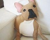 Nuri the French Bulldog Wool Felt Applique Plush Doll Pillow