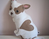 Billie Jean the Chihuahua Dog Wool Felt Applique Plush Doll Pillow
