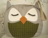 Chewy the Owl Applique Canvas Tote Purse Handbag Shoulder bag