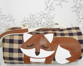 Grayson the Fox Purple Tan Gingham Vintage Inspired Cotton Canvas Floral Duffel Tote Bag Pursewith Vinyl Applique