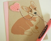 Valentine Jer Jer the Welsh Corgi Valentine's Day Striped Heart Balloon Note Card with Envelope
