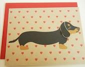 Valentine Teriyaki the Dachshund Valentine's Day Heart Print Note Card with Envelope