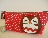 Stewart the Owl Red Polka Dot Vintage Inspired Cotton Canvas Floral Case with Vinyl Applique