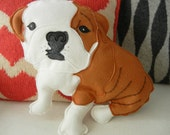 Boris the English Bulldog Wool Felt Applique Plush Doll Pillow