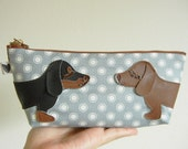 Teriyaki and BBQ the Dachshunds Grey Polka Dot Japanese Cotton Canvas Floral Case with Vinyl Applique