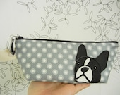 Lola the Boston Terrier Grey Polka Dot Japanese Cotton Canvas Floral Case with Vinyl Applique