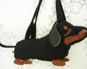 Teriyaki the Dachshund Dog Applique Canvas Tote Purse Handbag Shoulder bag