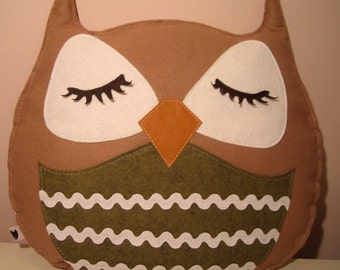 Camel Stewart the Owl Vintage Inspired Wool Felt Decorative Doll Pillow