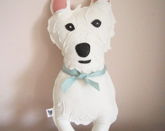 Suzy the West Highland Terrier Dog Wool Felt Applique Plush Doll Pillow