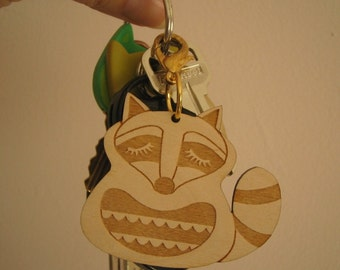 Kyle the Raccoon Wooden Engraved Keychain Zipper Pull