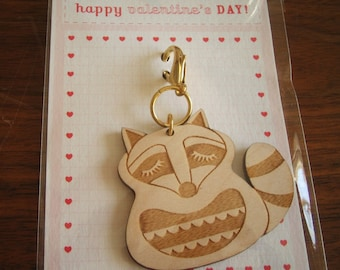 Valentine's Day Kyle the Raccoon Wooden Engraved Keychain Zipper Pull with Card Packaging