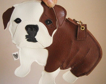 Boris the English Bulldog Cute Vintage Inspired Brown Vinyl Zipper Clutch Purse