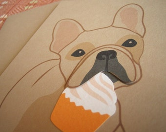 Nuri the French Bulldog Happy Birthday Cupcake Blank Note Card with Envelope
